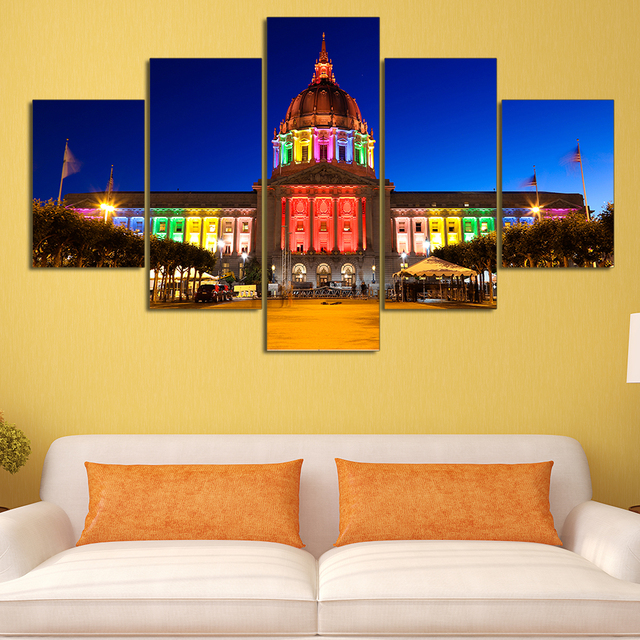 5 Pieces Trump White House HD Printed Painting Oil Canvas Building ...