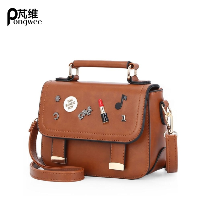Pongwee Fashion High Quality Cute Messenger Bags Small Side Letter Handbags Mini Crossbody For Women
