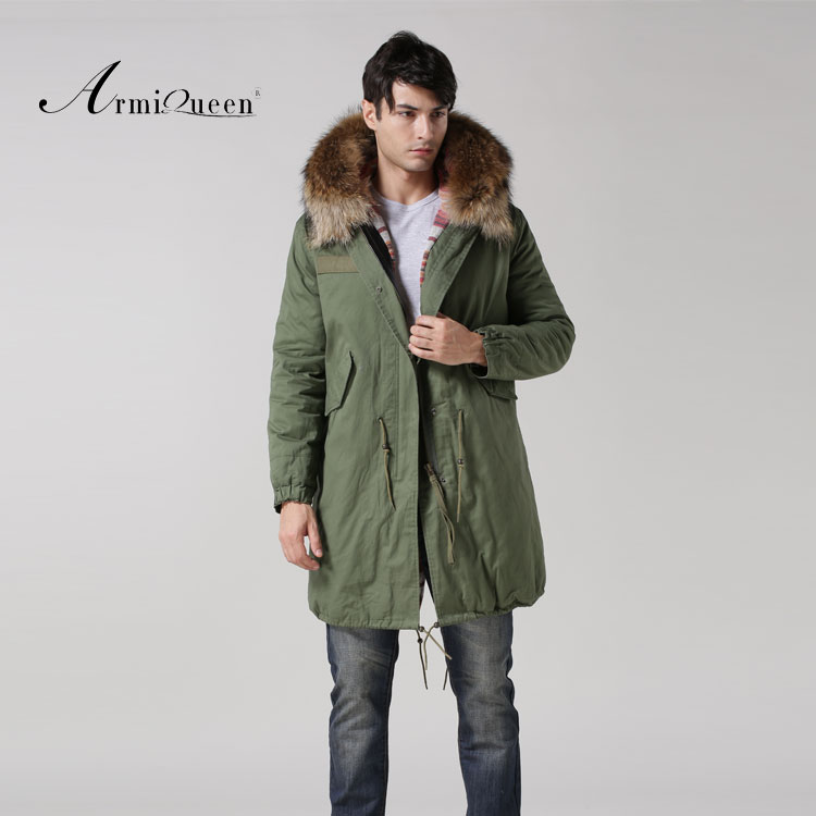 Real Lamb fur inside winter male fur natural collar parka