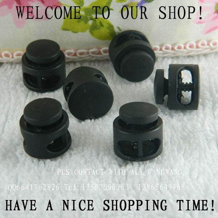 2 отверстия Лидер продаж нейлоновый шнур замок, большой размер черный круглый фиксатор шнура 200 шт./лот DIY украшения