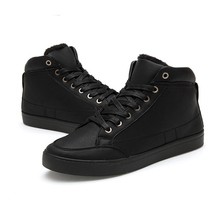 New 2016 winter men casual shoes brend black white fashion flat canvas warm shoes handmade pu leather male