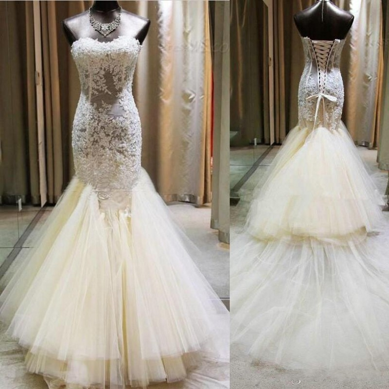 Vintage Lace Mermaid Wedding Dresses Illusion Boning Formal Ivory
