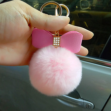 Hot Sales Round Metal Key Chain Real Rabbit Hair Bulb Fur Plush Pom Poms Ball Bag Car Ornaments Mobile phone Pendant Key jewelry