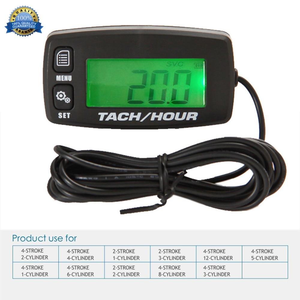 Image 2 - Digital Resettable Inductive Tacho Hour Meter Tachometer For Motorcycle Marine Boat ATV Snowmobile Generator Mower RL HM032Rtachometer for motorcycleinductive tachometermotorcycle digital tachometer -