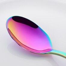 High Quality Rainbow Dinnerware Stainless Steel Mirror Cutlery Set For Western Food Knife Fork Teaspoon Set