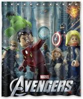 Custom The Lego Movie Shower Curtain Avengers Curtains Marvel Comics Iron Man Hulk Bath Curtain Waterproof Christmas Decor #035#