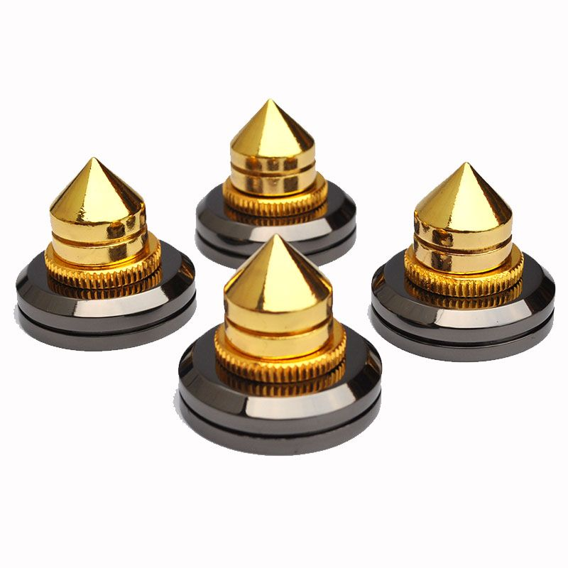 4sets M6 Metal Speaker Spike Isolation Spikes Copper High Quality Isolation Cones Stand Feet+Base Pads Mayitr