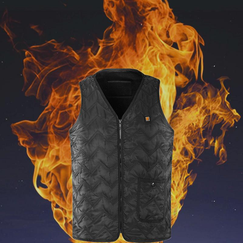 NEW Men Heated Vest Winter Camping Warm Thick Vest Ski Hunting Usb Charging Vest Woman 3 Level Black new charging heated down vest man skiing vest winter warm down thick vest camping hiking keep body warm black s xxxl