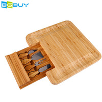 Square Bamboo Cheese Board Set Cutting Meat Plate, Bamboo Serving Tray with Cutlery Knives in Drawer