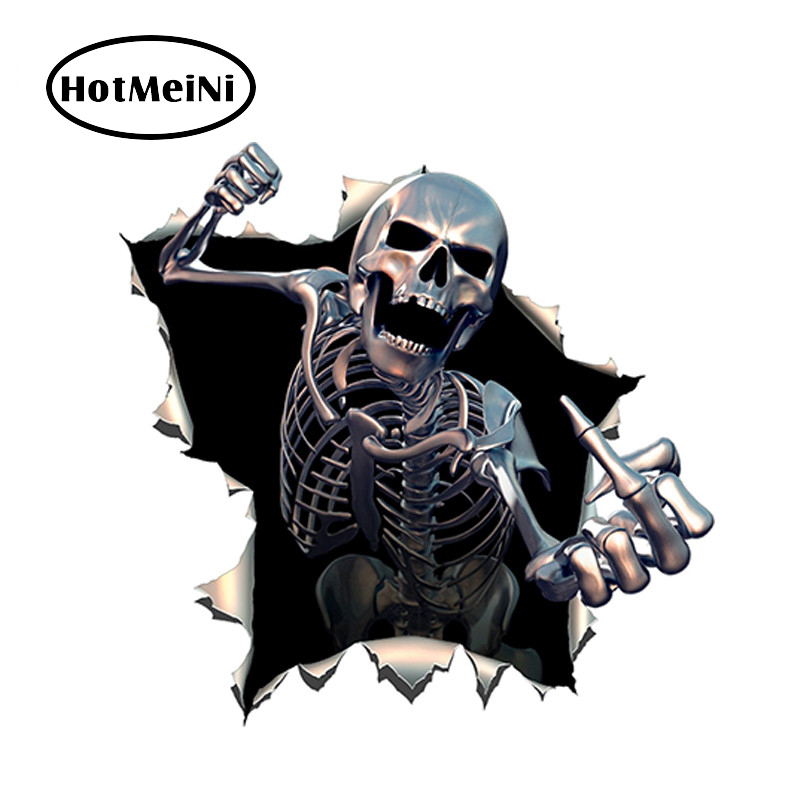 HotMeiNi 14*13cm Car Sticker 3D Skull Car Hoods Trunk Thriller Reflective JDM Decal Auto Car Styling Accessories Decoration hotmeini 60cm 14cm endless nights japanese kanji stance windshield jdm for bmw mugen car decal sticker big car sticker