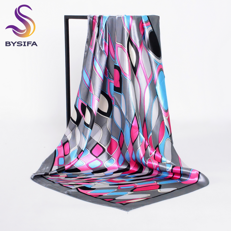 [BYSIFA] Spring Grey Pink Silk   Scarf   For Ladies Spring Autumn Satin Large Square   Scarves     Wraps   90*90cm Geometric Pattern   Scarves