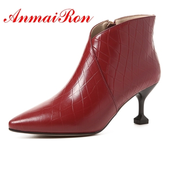 AnmaiRon Women Elegant  Ankle Boots High Heels Winter Boots Pointed Toe  Heel Zipper Shoes Woman Short Boot Size34-39  LY003