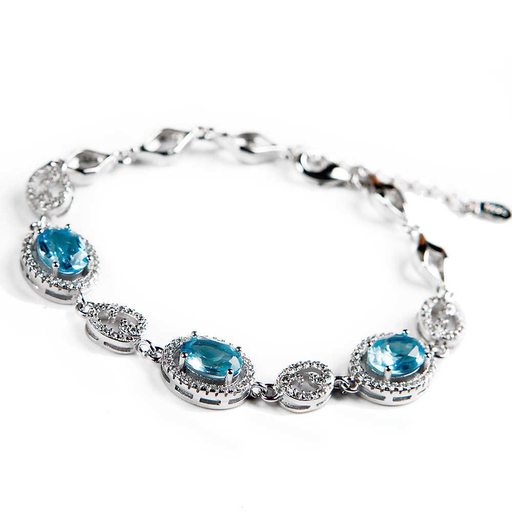 Prawdziwy naturalny naturalny niebieski Topaz kryształ 12x10mm jasne koraliki 925 Sterling Silver kobiety mężczyźni Topaz bransoletka AAAAA kamień leczniczy