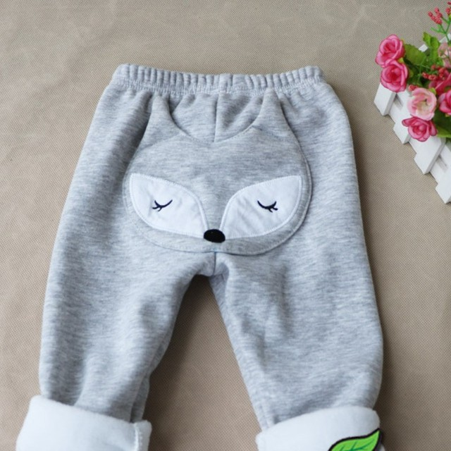 1T-3T children in autumn and winter warm pants cartoon little fox cute boys and girls with velvet elastic belt children's pants