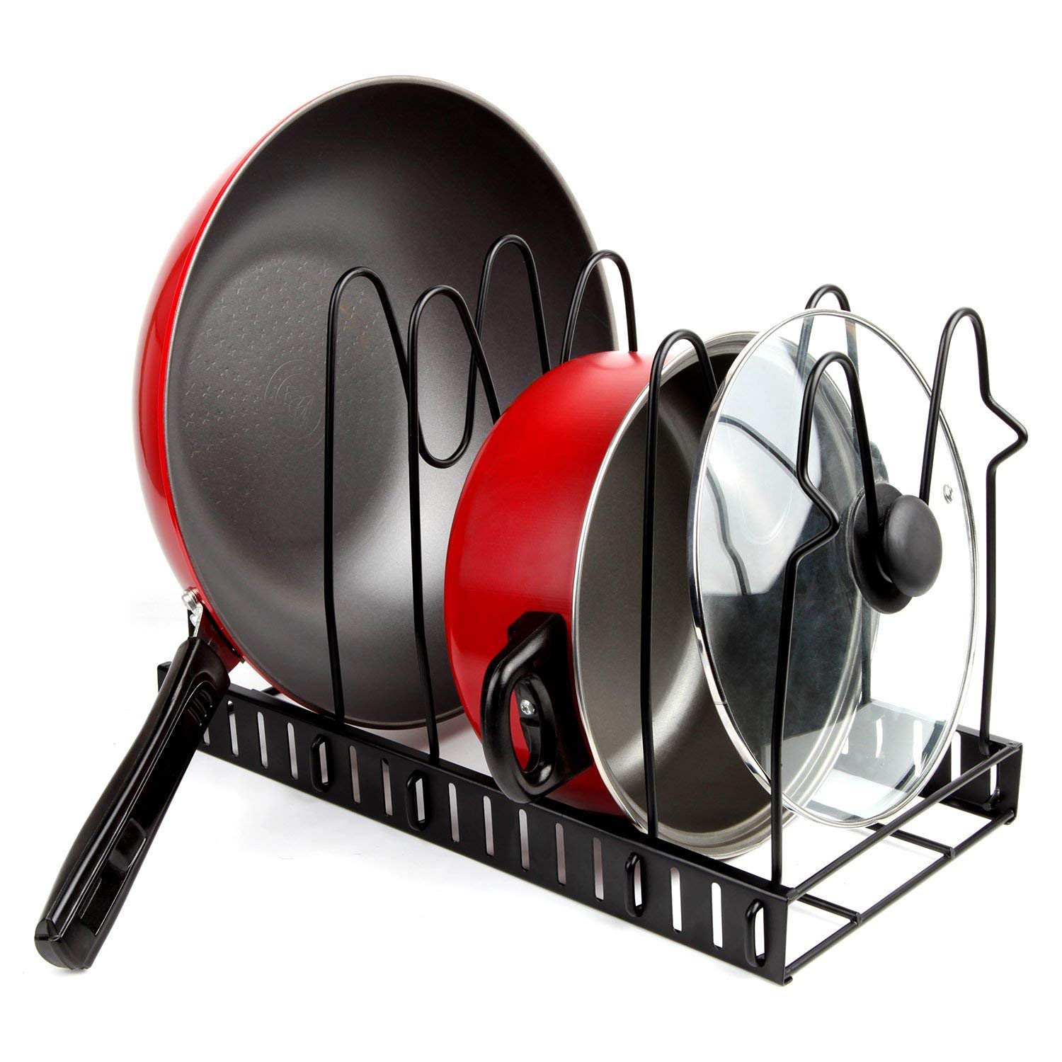 Pan Organizer Pot Rack Lid Holder Cookware Holders Adjustable Heavy Duty Cabinet Pantry Kitchenware For Kitchen Housekeeper