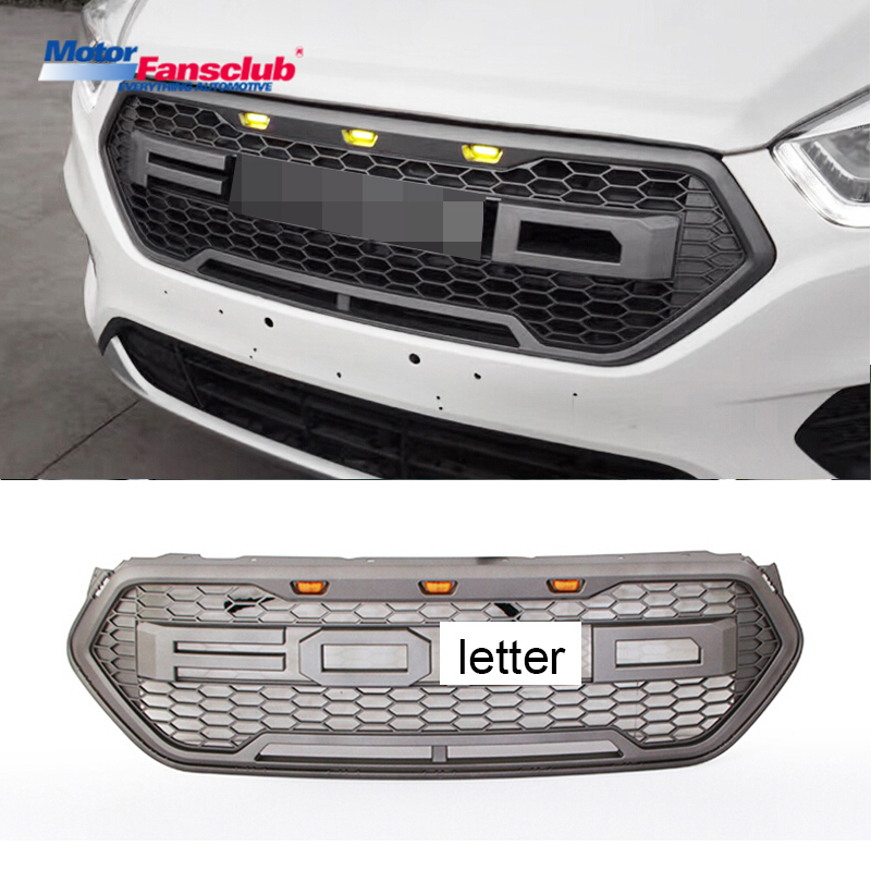 Car Racing Grille For Ford Escape Grill 2017 Raptor Pickup With Grey Badge Letter LED Blub Mesh Radiator Bumper Modify Exterior