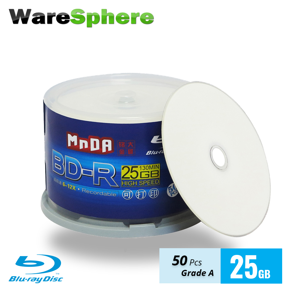 Grade Eine Bd-r 25 Gb 6-12x Blu Ray Disc Blank Bluray Disc Inkjet Druckbare Blu-ray Disc-50 Pcs Spindel Box Blank Disks