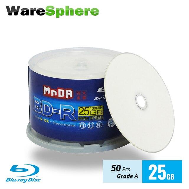Lớp MỘT BD-R 25 GB 6-12X Blu Ray Đĩa Trống Bluray Đĩa Máy In Phun Có Thể In Đĩa Blu-Ray-50 PCS Trục Chính hộp