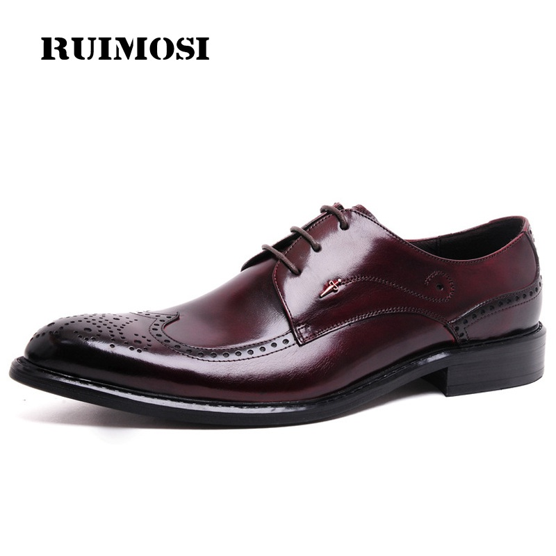 RUIMOSI British Style Derby Man Formal Dress Shoes Vintage Genuine Leather Oxfords Round Toe Men's Wing Tip Brogue Flats TH29