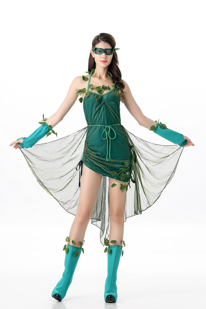 Womens Halloween Anime Green Lethal Beauty Superhero Batmen Poison Ivy Cosplay Costumes Fancy Dress