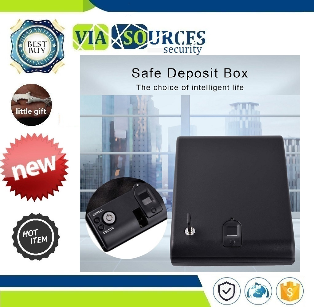 Protable Security Biometric Fingerprint Box Biometric Fingerprint Safe Box Solid Steel Security Gun Key Valuables Jewelry Box   - title=