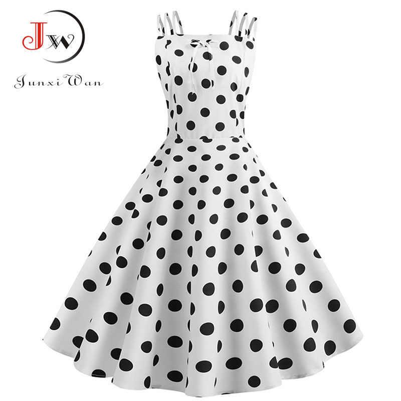 Для женщин летние Спагетти ремень в горошек Винтаж платье пикантные в стиле пин-ап, рокабилли вечерние халат 2019 Повседневное пляжное платье миди плюс Размеры