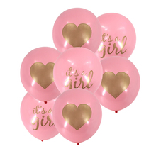 12 40pcs/lot Heart balloons blue pink with golden glitter boys girls printing for Birthday hen party Wedding Balloons
