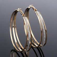 ФОТО 2 Colors  Big Multilayer Hoop Earring Simple Personality Women Jewelry