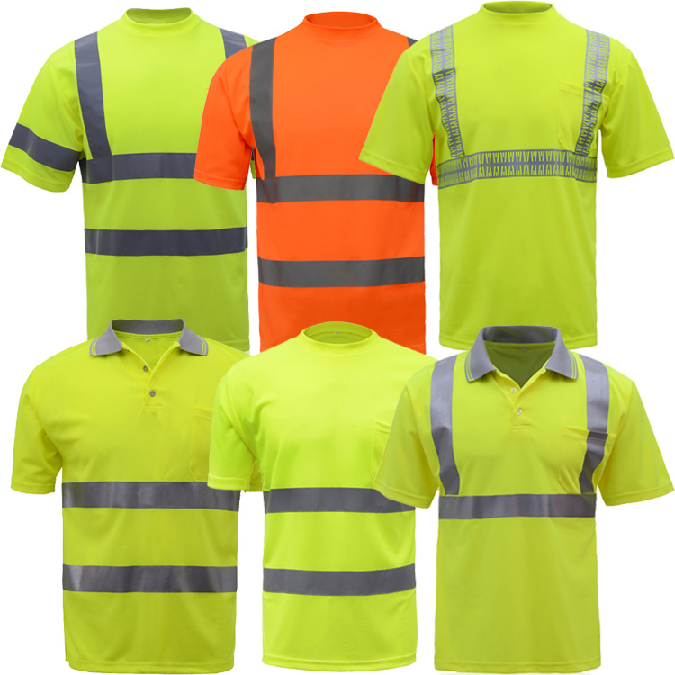 Summer High visibility safety work shirt breathable work clothes safety reflective t-shirt safety polo shirt free shipping