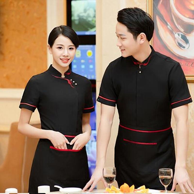 Waiter Uniform Shirt Short Sleeve Restaurant Fast Food Shop Female Waitress Work Clothes Hotel Woman Breathable Overalls H2194