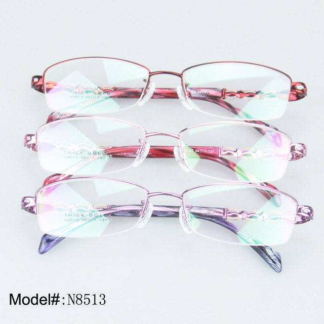 552bb8d01ce N8513 Quality thick gold metal half rim rectangle optical spectacles for  woman frames eyeglasses eyewear