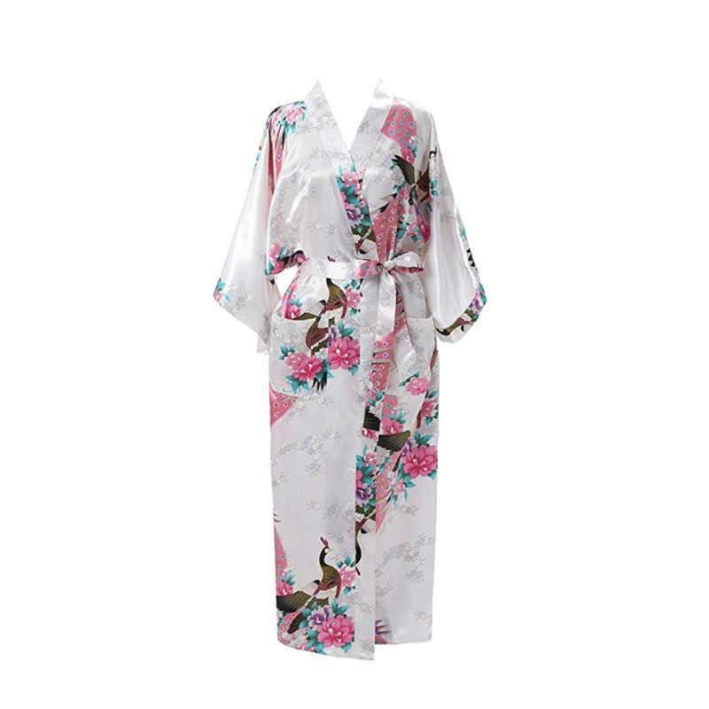 Long Printed Nightdress White Bride Bridesmaid Wedding Robe Plus Size  Peacock Women s Sleepwear Sexy Kimono Bath 274da0be4807