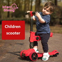 Infant Shining Children Three Wheel Balance Bike Kids Scooter Baby Walker 2 11Y Tricycle Bike Ride On Toys Gift for Baby Toys