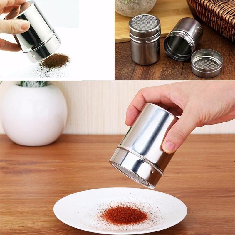 WHISM Haushalt Edelstahl Zucker Coco Shaker Sprinkler Mehl Schokolade Salz Sifter Kaffee Küche Werkzeuge Für Kuchen Machen