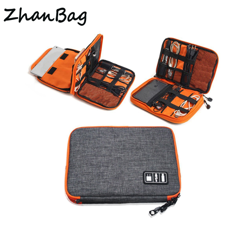 High Grade Nylon 2 Layers Travel Electronic Accessories Organizer Bag,Travel Gadget Carry Bag, Perfect Size Fit for iPad