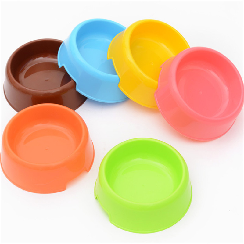 1 Pcs Dog Feeders Plastic Dog Bowls Pet Cat Bowl Solid Color Feeding Water Food Puppy Pet Dish Feeder Goods Pet Supplies