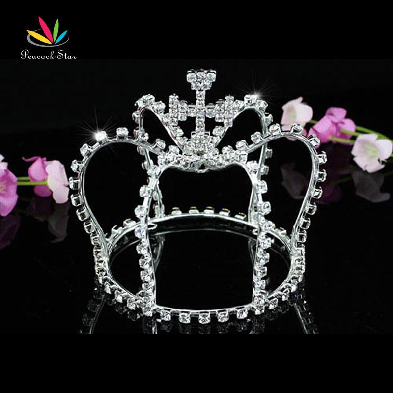 Peacock Star Bridal Wedding Princess Flower Girl Sparkling Crystal Full Circle Round Mini Tiara Crown CT1539