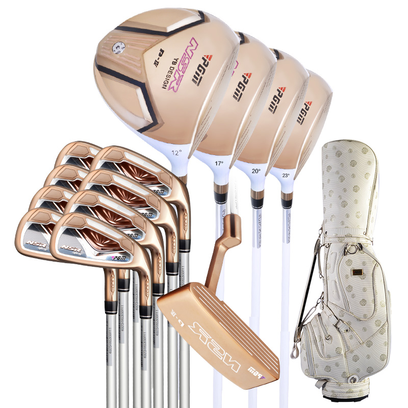 PGM Women's Golf Club Sets with Bag (13 Piece) Standard Package Putter +4PCS Woods +8 PCS Irons Bar Gold Edition Complete simulation mini golf course display toy set with golf club ball flag