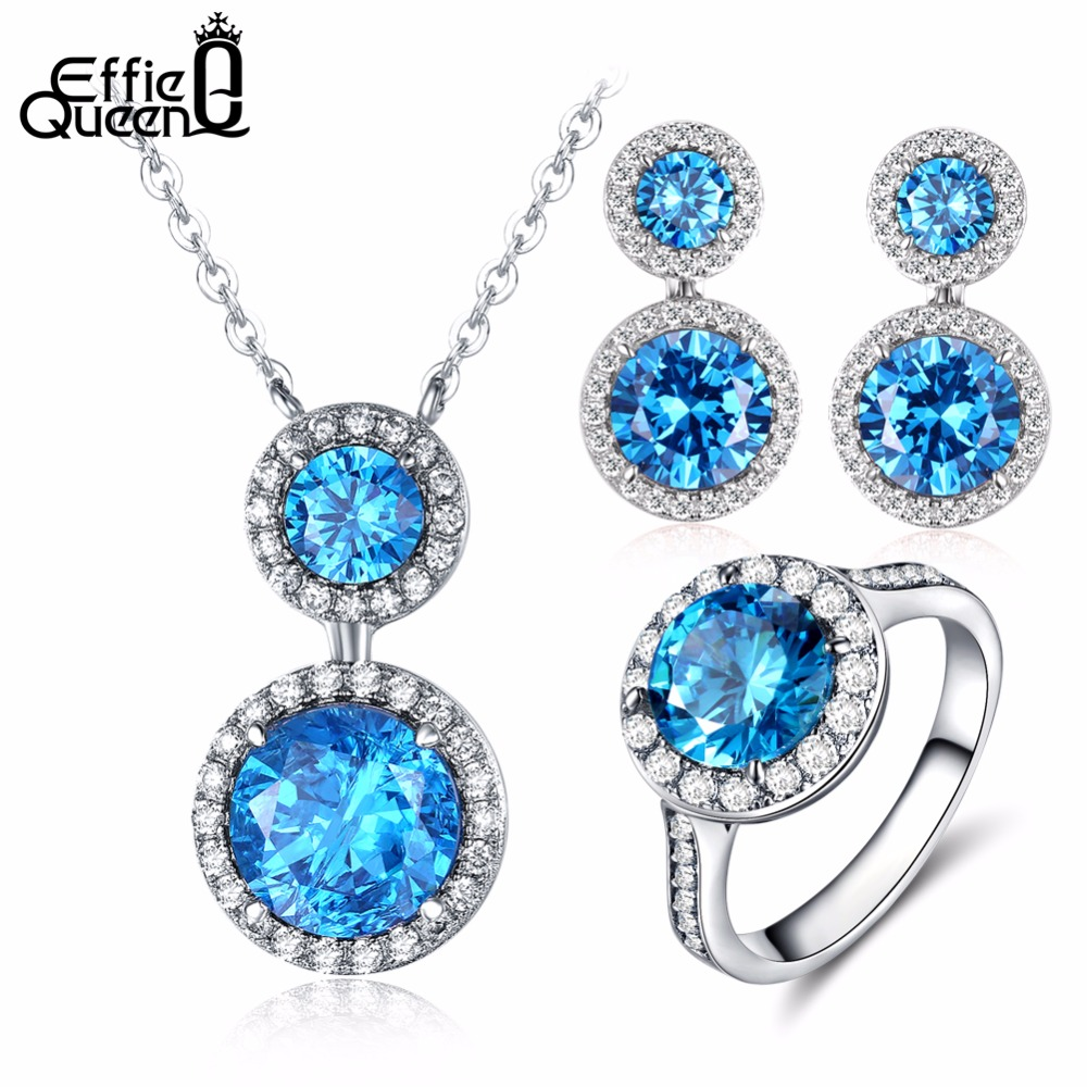 Effie Queen New Top Silver Color Jewelry Set Blue Cubic Zircon Pendant Necklace/Earrings/Ring Women Wedding Jewelry Sets DS110 viennois new blue crystal fashion rhinestone pendant earrings ring bracelet and long necklace sets for women jewelry sets