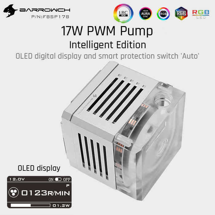 Barrowch FBSP17B, 17 Вт PWM интеллектуальный насос, OLED цифровой дисплей, DDC серия, ручной и ШИМ контроль скорости водяного Охлаждения Насос