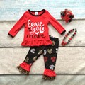 cotton Valentine's day boutique baby girls kids outfits clothing ruffles suit love you more heart print top match accessories