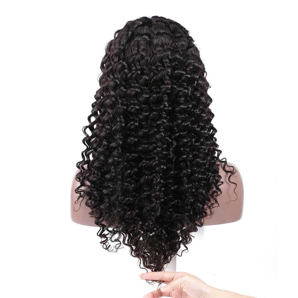 Poker Face бразильские волосы 360 синтетический фронтальный парик глубокая волна 250% плотность предварительно сорванные натуральные человеческие девственные волосы 12-26 дюймов