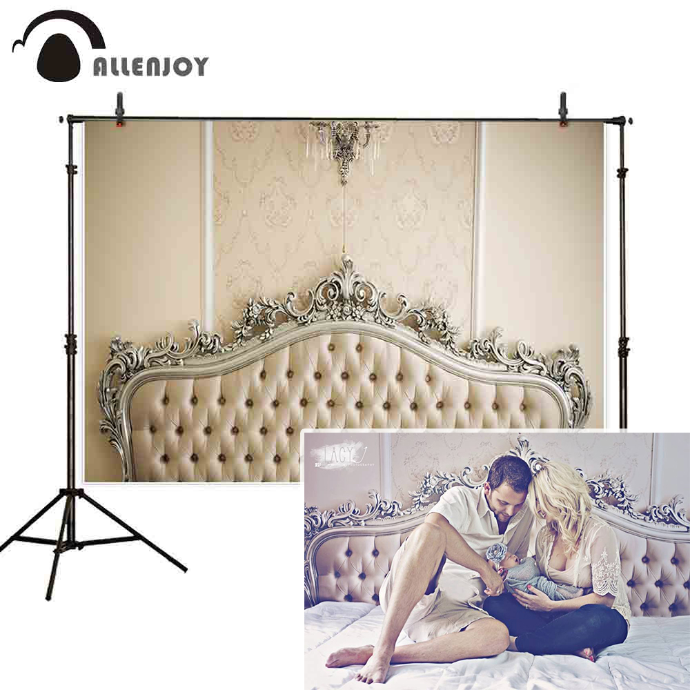 Allenjoy New Baby Family Photo Backdrop Ivory Headboard Fashion Classic Damask Bed  Vintage Photograph Prop Photocall Background