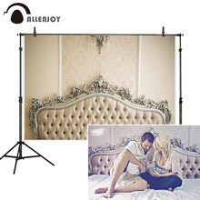 Allenjoy new baby family photo backdrop ivory headboard fashion classic damask bed vintage photograph prop photocall background(China)