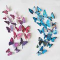 12 Pcs/Lot PVC 3D DIY Butterfly Wall Stickers Fridge Magnet