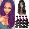 Brazilian Hair Weave Bundles With 360 Lace Frontal Band Closure Pre Plucked 360 Lace Frontal With 4 Bundles Brazilian Body Wave