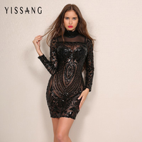 2016 Autumn Sexy Sequins Dress Women Elegant Lady Black Silm Dresses Fashion Vestido De Festa Plus