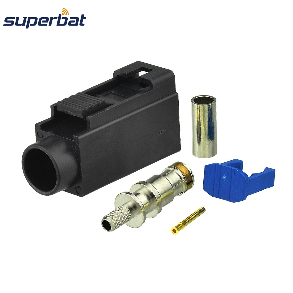 Superbat 10pcs Fakra A Black/9005 Jack Female Connector Crimp For Cable RG316 RG174 LMR100 Apply To Radio Without Phantom Supply