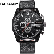 CAGARNY Men Fashion quartz Watches Leather Strap Man Sport Military waterproof Wristwatches Relogio Masculino