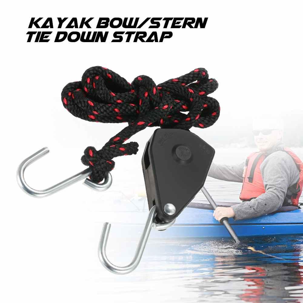 新サイズ小/大カヤックカヌーボートプーリーロープ調節可能なロック弓船尾タイダウンストラップロープハンガーフック